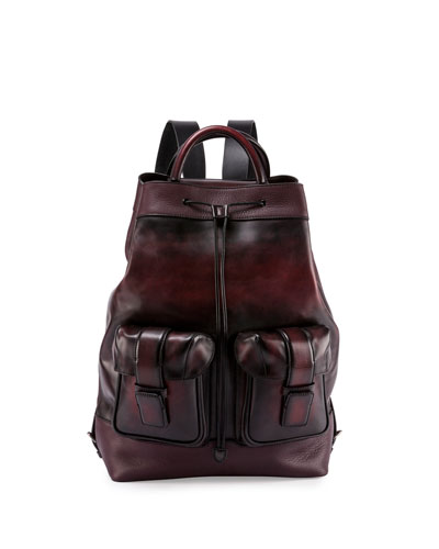 Horizon Drawstring-Top Leather Backpack, Black