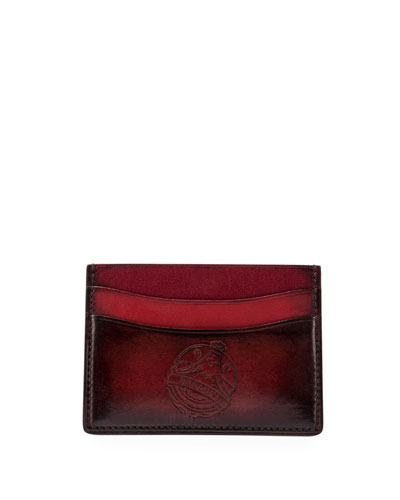 Bambou Leather Card Case, Red