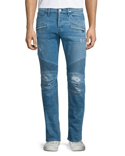 Blinder Distressed Moto Denim Jeans, Light Blue