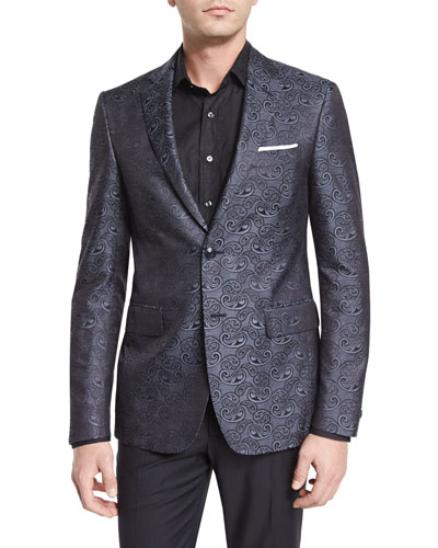 Paisley-Print Silk Evening Jacket, Charcoal