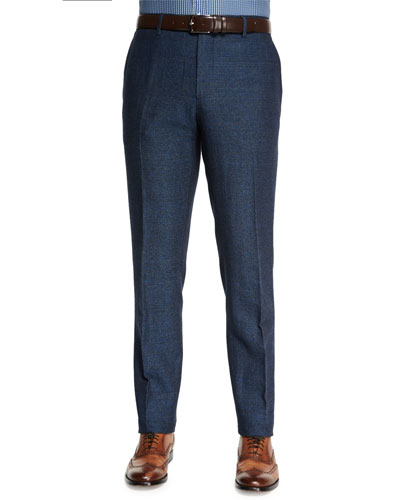 Herringbone Flat-Front Pants, Blue