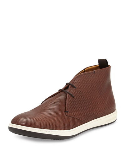 Textured Leather Chukka Boot, Brown