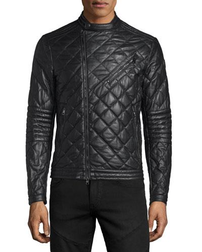 Debise Quilted Leather Moto Jacket, Black