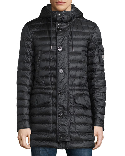 Benjamin Quilted Long Puffer Coat, Black