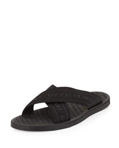 Logo-Web Slide Sandal, Black