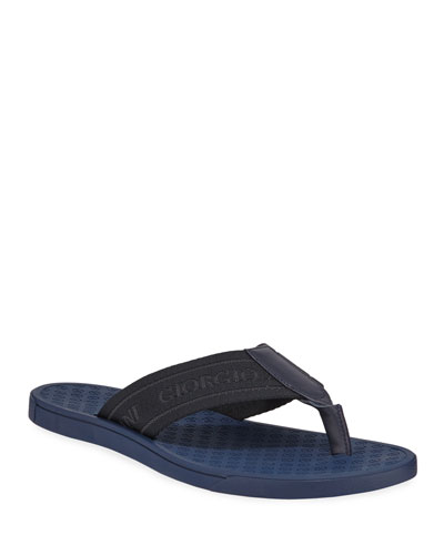 Nylon-Web Thong Sandal, Blue