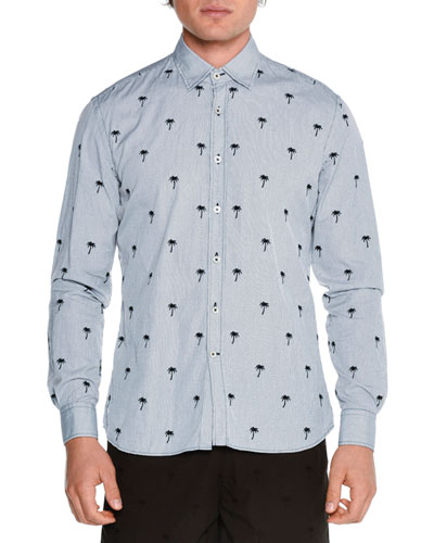 Embroidered Palm Tree-Print Shirt, Navy
