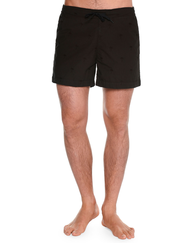 Tonal Palm Tree Embroidered Swim Shorts, Black