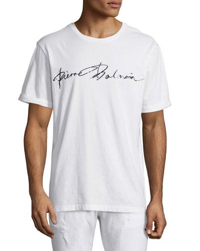 Script-Logo Short-Sleeve T-Shirt, White