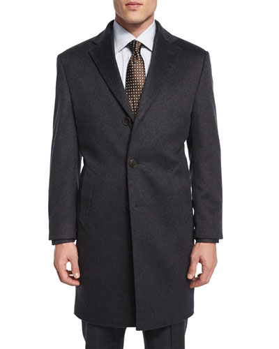 Cashmere Button-Down Car Coat, Charcoal