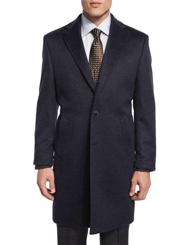 Cashmere Button-Down Long Coat, Charcoal Blue