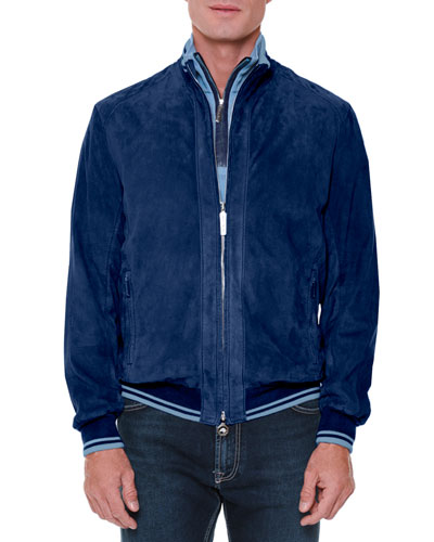 Perforated Suede Zip-Up Jacket, Blue