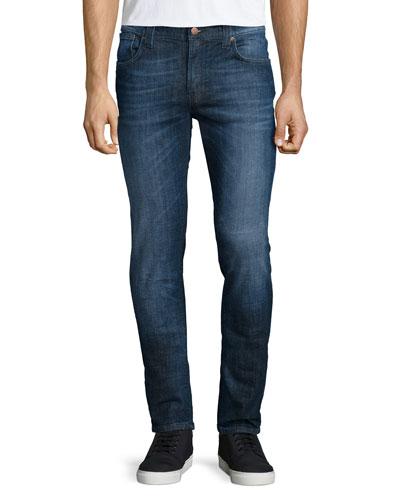 Thin Finn Washed Denim Jeans, Dark Blue