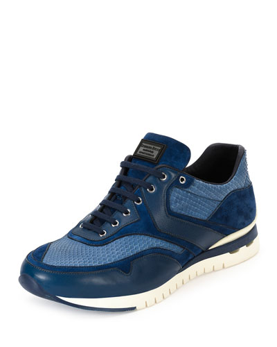 Python Leather & Suede Sport Trainer Sneaker, Blue
