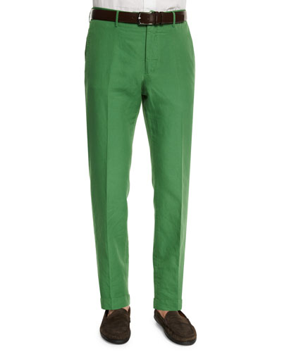 Chinolino Linen-Blend Trousers, Green