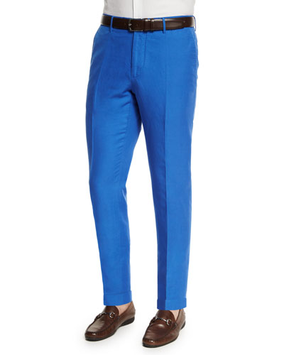 Chinolino Linen-Blend Trousers, Royal