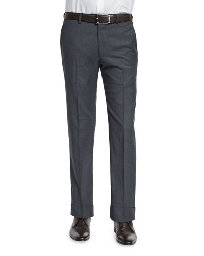 Basic Flat-Front Wool Trousers, Charcoal