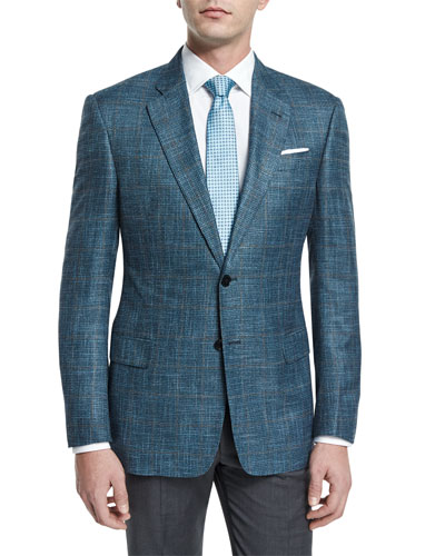 G-Line Melange-Windowpane Two-Button Jacket, Teal