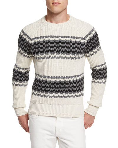 Silk-Blend Striped Fisherman Sweater, Ivory