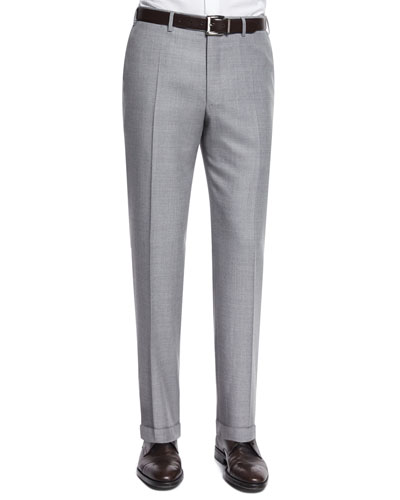 Sienna Contemporary-Fit Twill Trousers, Light Gray