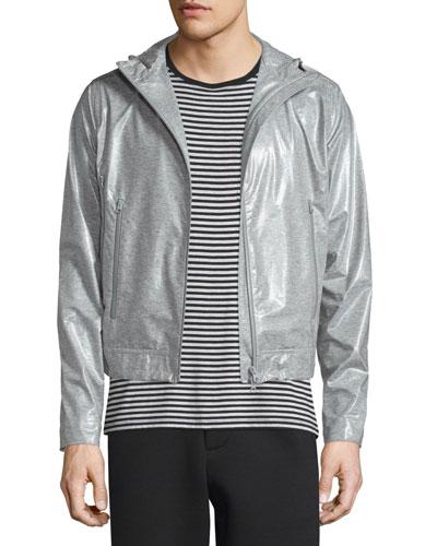 Coated Zip-Up Hooded Wind-Blocking Jacket, Light Gray