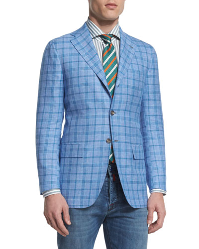 Plaid Two-Button Sport Coat, Light Blue/Aqua