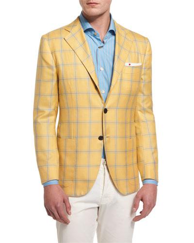 Plaid Two-Button Cashmere-Silk Sport Coat, Yellow/Blue