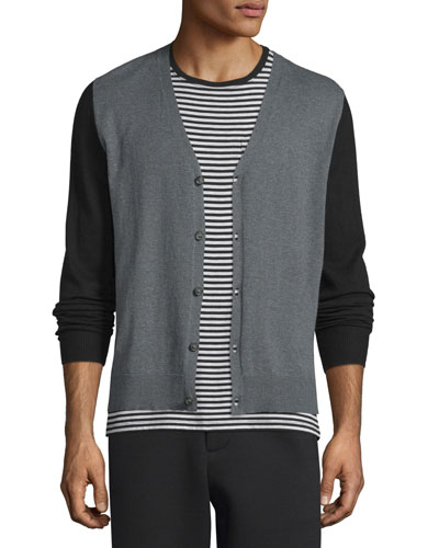 Colorblock Button-Down Cashmere Cardigan, Black/Charcoal