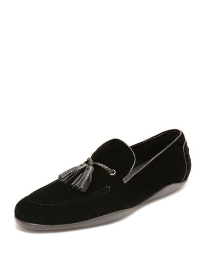 Dylan Velvet Tassel Loafer, Black