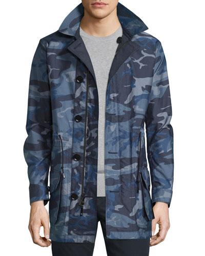 Camo-Print Nylon Single-Layer Jacket, Navy