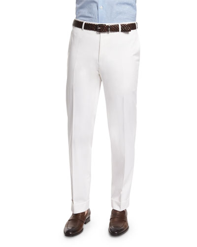 Sienna Contemporary Flat-Front Stretch Trousers, White