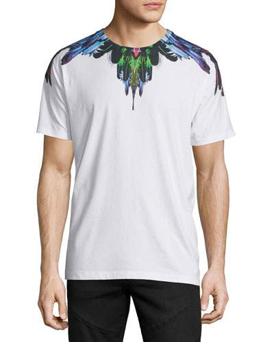 Multicolored Feather Graphic Short-Sleeve T-Shirt, White