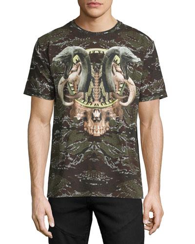 Camo Snake Graphic T-Shirt, Green