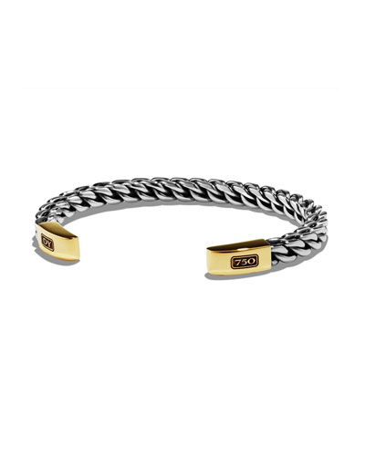 Men's Woven Sterling Silver/Gold Cuff Bracelet