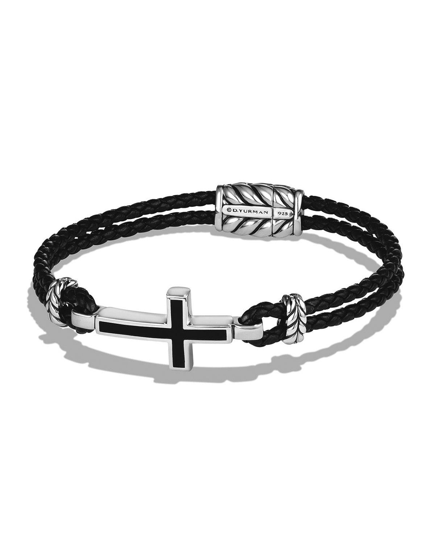 Men's Cross Station Woven Leather Bracelet
