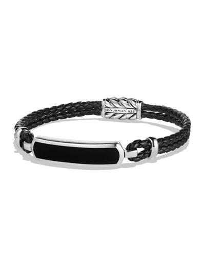 Lea Men's Woven Leather Station Bracelet with Onyx