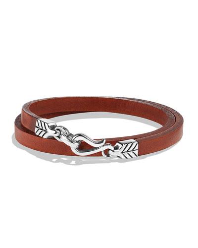 Men's Chevron Double-Wrap Leather Bracelet, Brown