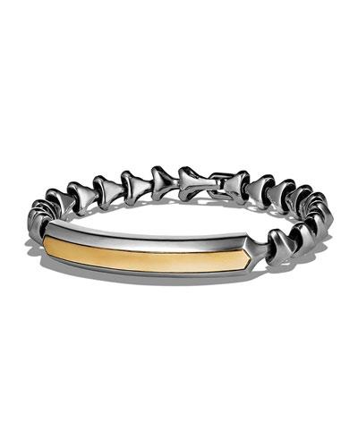 Armory Sterling Silver & 18K Yellow Gold Single Row ID Bracelet