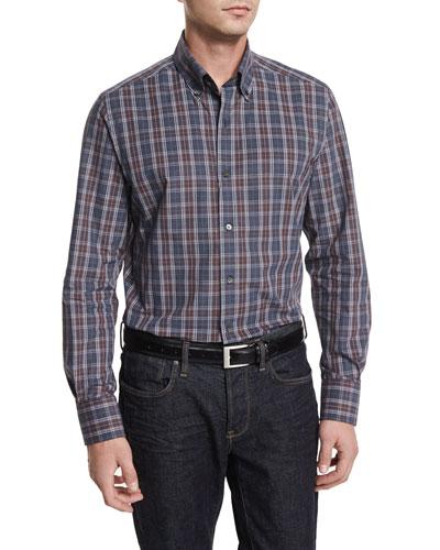 Melange Plaid Long-Sleeve Sport Shirt, Dark Gray/Chocolate