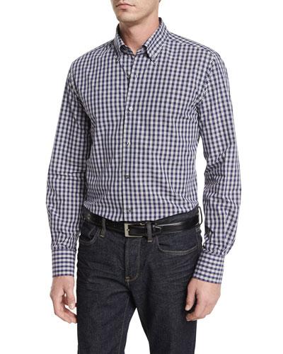 Small Check Long-Sleeve Sport Shirt, Blue/Gray