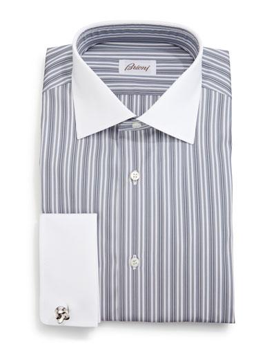 Contrast-Collar Multi-Stripe French-Cuff Dress Shirt, Gray