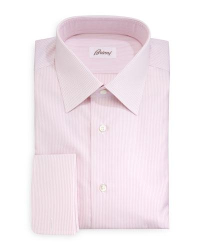 Rope-Stripe French-Cuff Dress Shirt, Pink