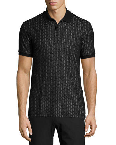 Textured-Pattern Short-Sleeve Polo Shirt, Pattern