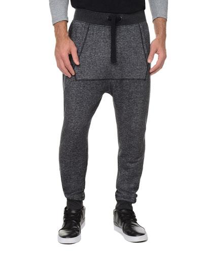 Terry Harem Sweatpants, Black