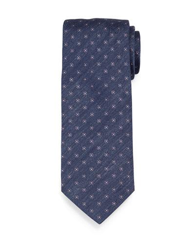 Chambray Flower-Print Neat Silk Tie