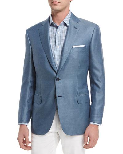 Tic Two-Button Silk-Blend Blazer, Light Blue