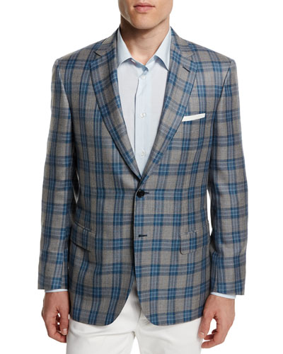 Plaid Two-Button Cashmere-Blend Jacket, Gray/Light Blue