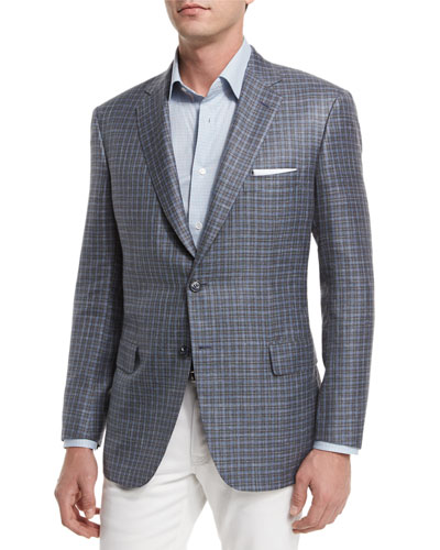 Check Two-Button Sport Coat, Taupe