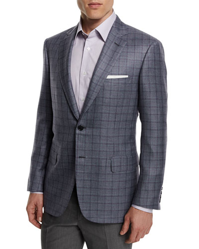 Plaid Cashmere-Blend Sport Coat, Gray