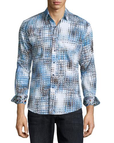 Cape Sim Check Printed Sport Shirt, Blue